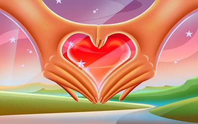 Hands forming a heart Wallpaper