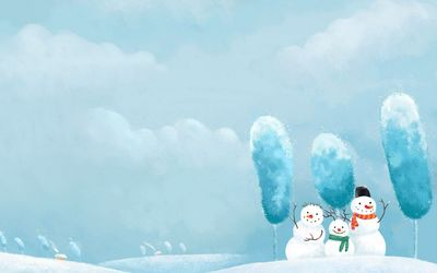 Happy snowman family waving wallpaper