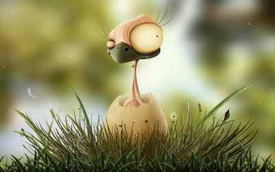 Hatching bird wallpaper