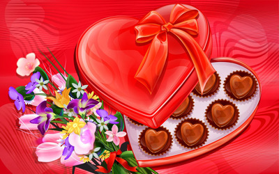 Heart chocolates and flowers wallpaper