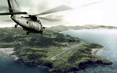 Helicopter heading to the island wallpaper