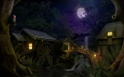 Hidden mill in the forest at night wallpaper