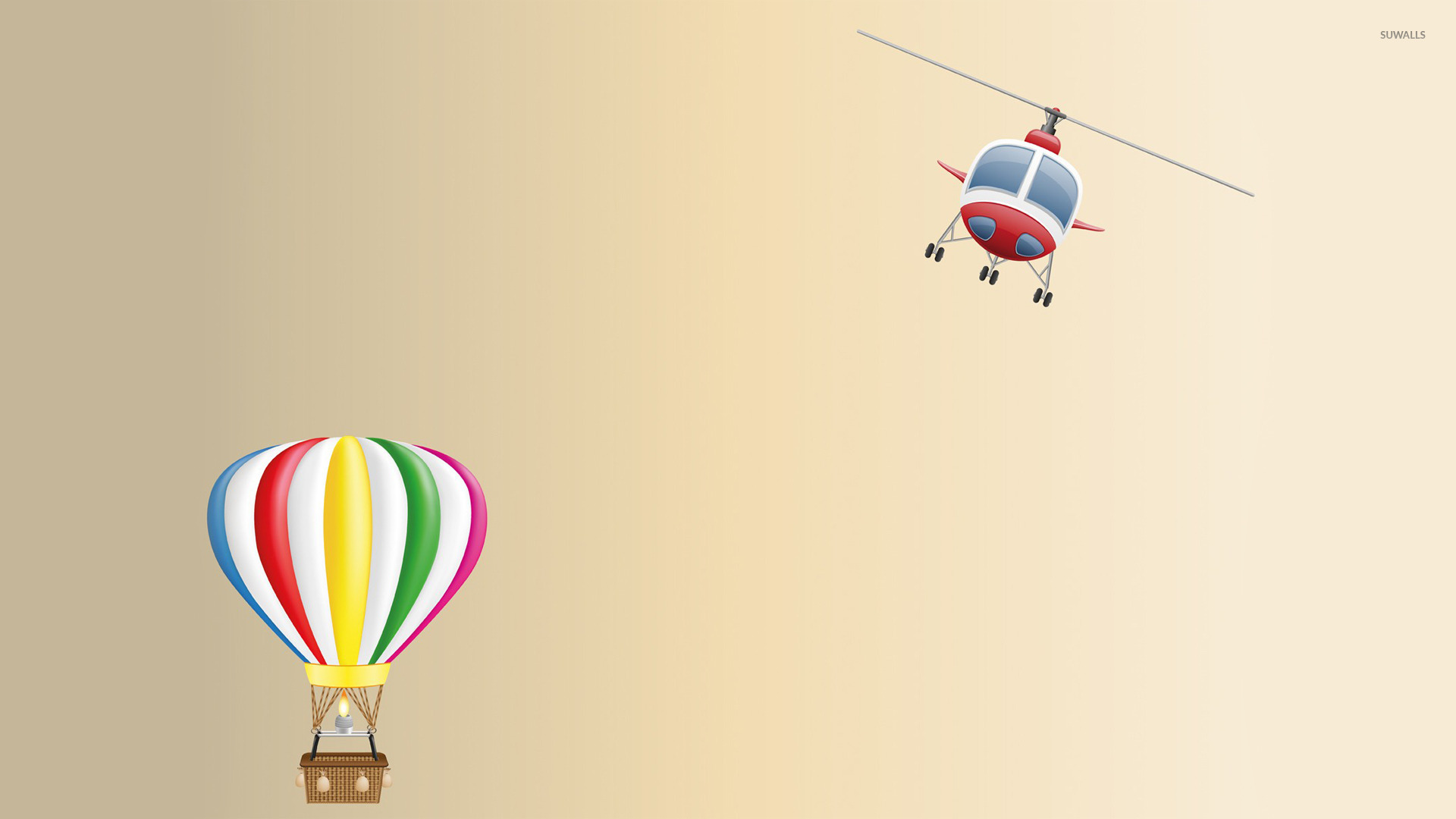 hot air balloon and helicopter wallpaper digital art