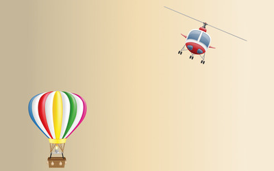 Hot air balloon and helicopter wallpaper
