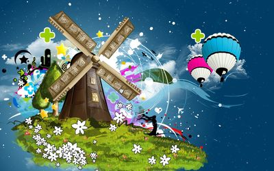 Hot air balloons flying to the mill wallpaper