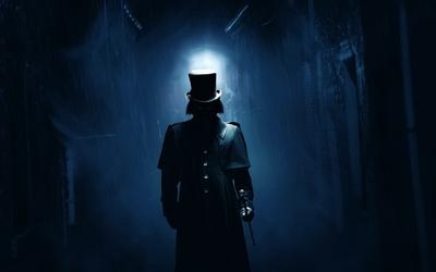 Jack the Ripper on a dark London street wallpaper