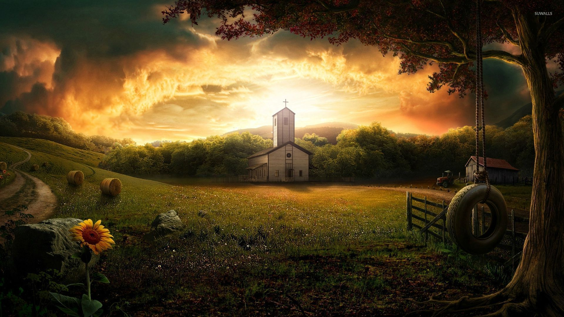Little Countryside Church Wallpaper