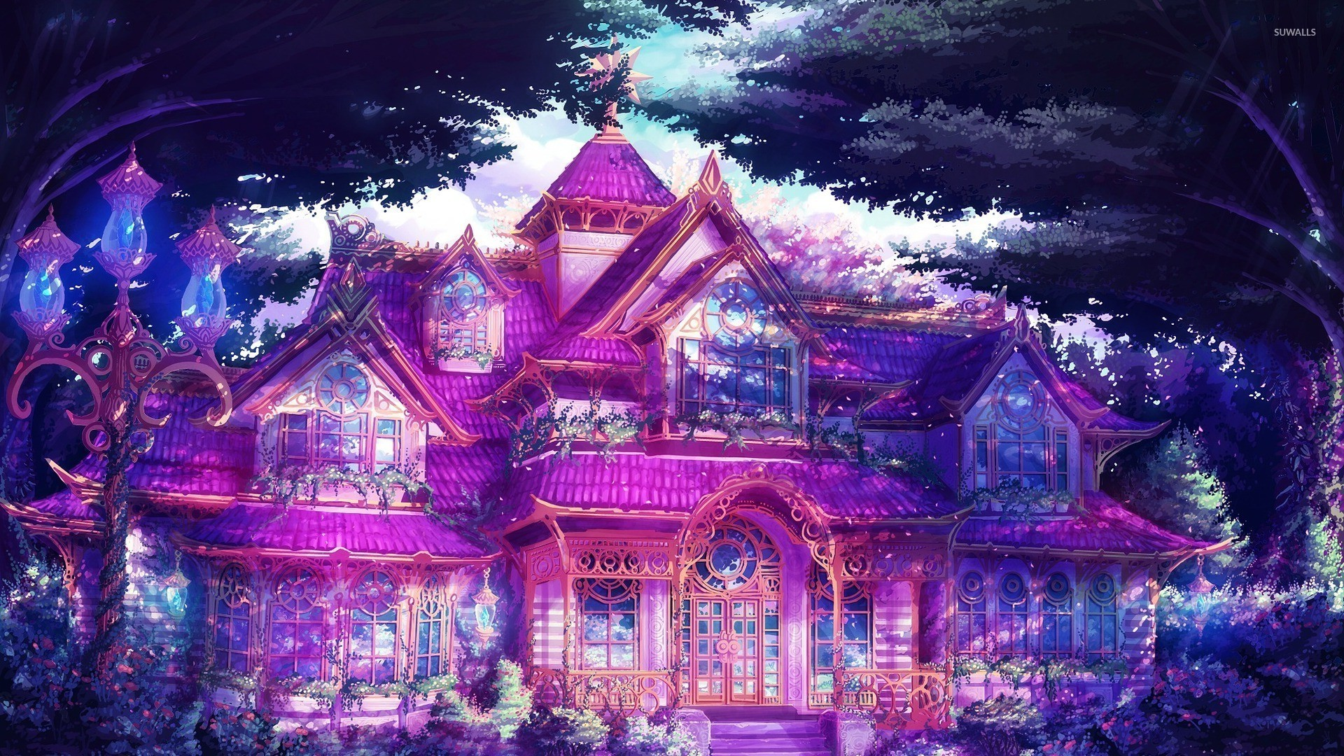 Traditional japanese house bedroom - Magical Mansion In The Forest Wallpaper Digital Art Wallpapers