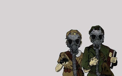 Men with gas masks wallpaper