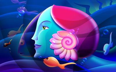 Mermaid head wallpaper