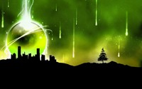 Meteor shower over the city wallpaper 1920x1200 jpg