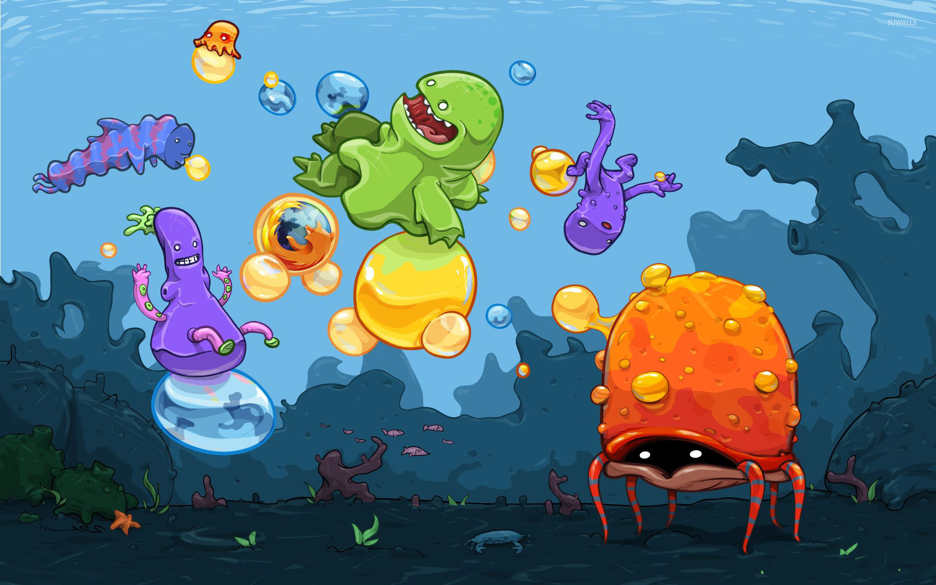 Monster Kids Playing In The Ocean Wallpaper Digital Art