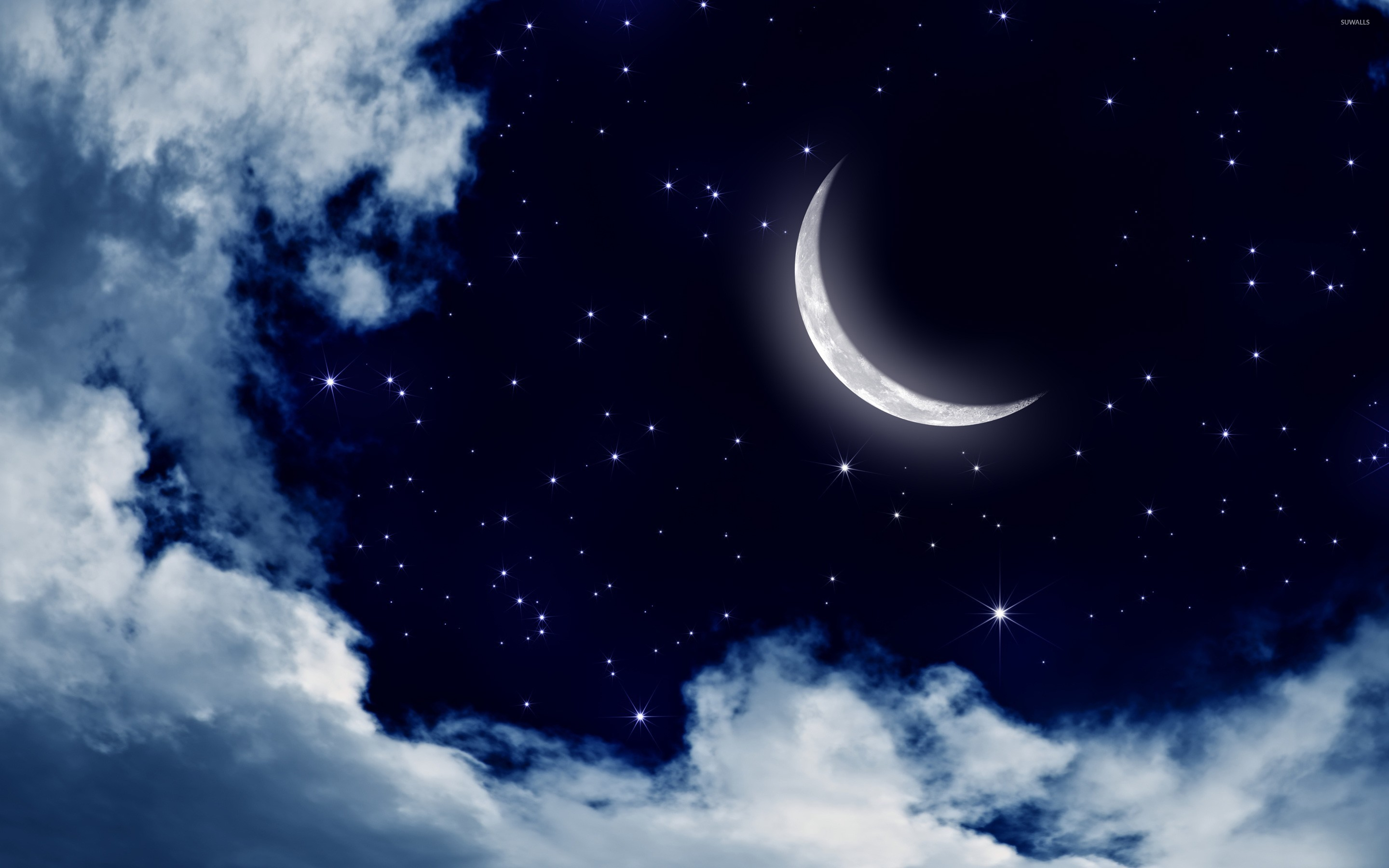 moon and stars in the sky wallpaper digital art wallpapers 25176