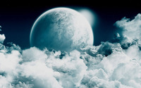 Moon rising from the clouds wallpaper 1920x1080 jpg