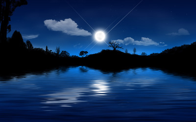 Moonlit lake wallpaper