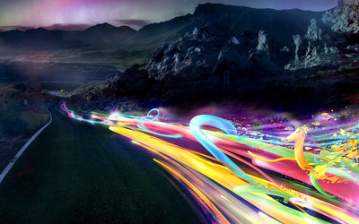 Mountain Road Light Traces wallpaper