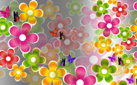 Multicolored daisies and butterflies wallpaper 1920x1080 jpg