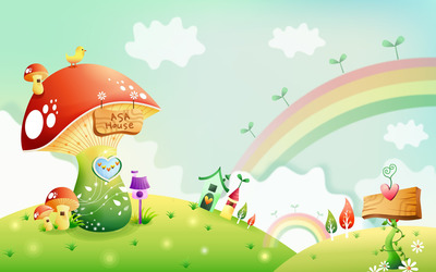 Mushroom house beyond the rainbow wallpaper