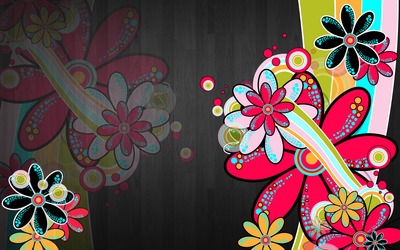 Neon daisies wallpaper