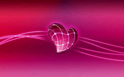 Neon lights on a pink heart Wallpaper