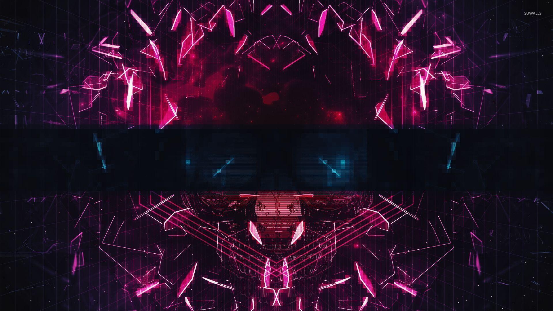 Neon Mask Made Of Shards Wallpaper Digital Art Wallpapers