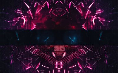Neon mask made of shards wallpaper