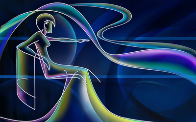 Neon outline of a woman wallpaper
