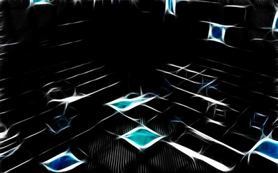 Neon squares in the dark room Wallpaper