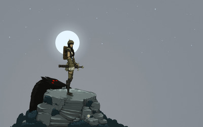 Nomad hunter under the full moon wallpaper