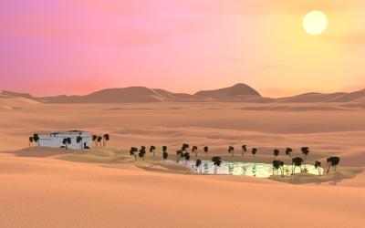 Oasis in the desert wallpaper