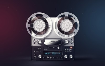 Old reel-to-reel tape recorder wallpaper