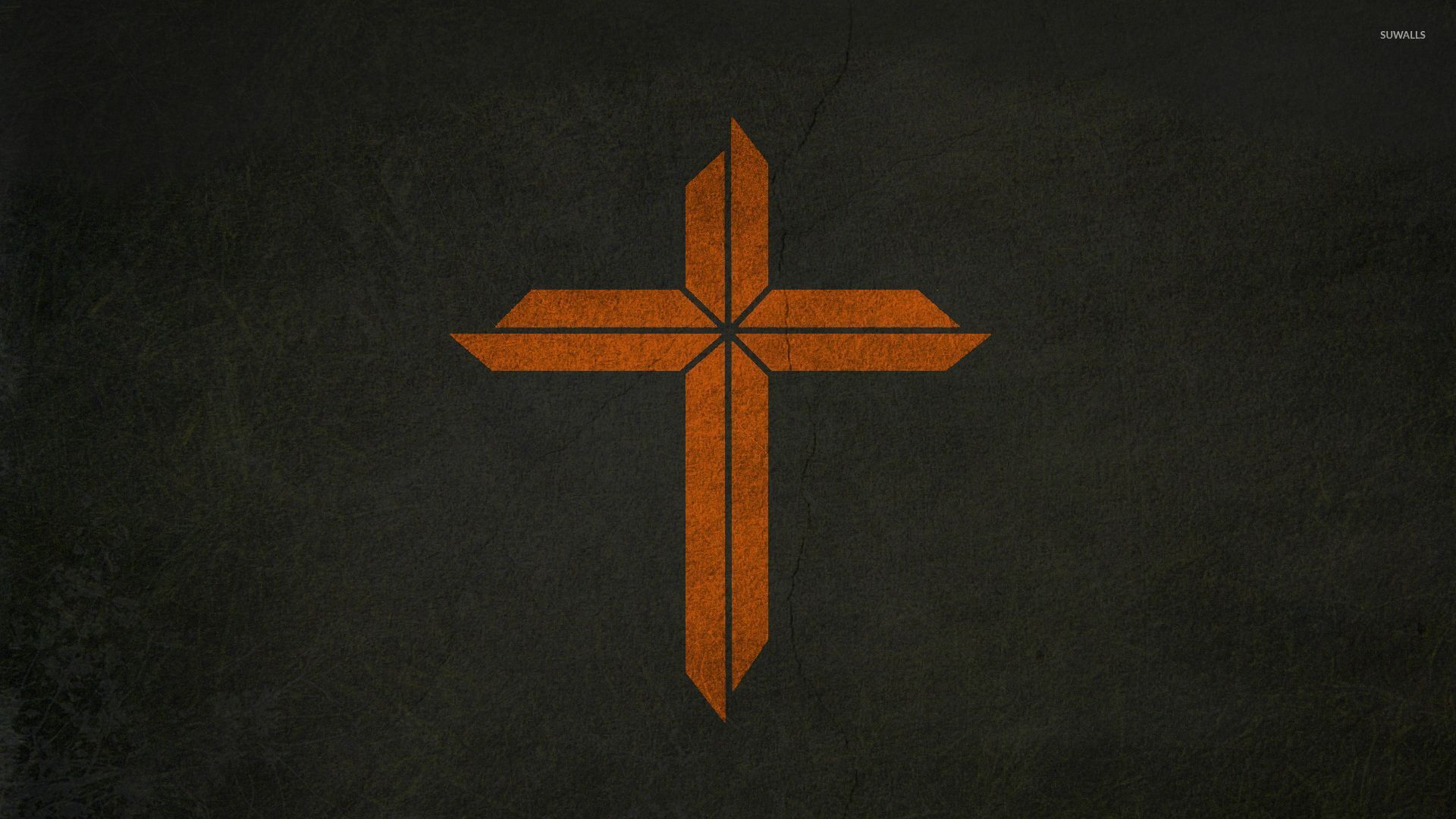 Orange Cross On A Cracked Wall Wallpaper