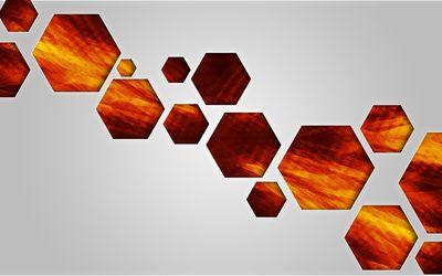 Orange hexagons wallpaper