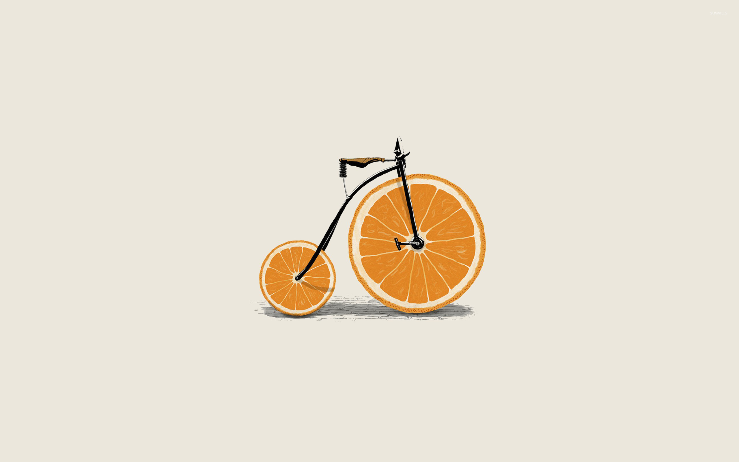 Orange wheel bicycle wallpaper Digital Art wallpapers 17903