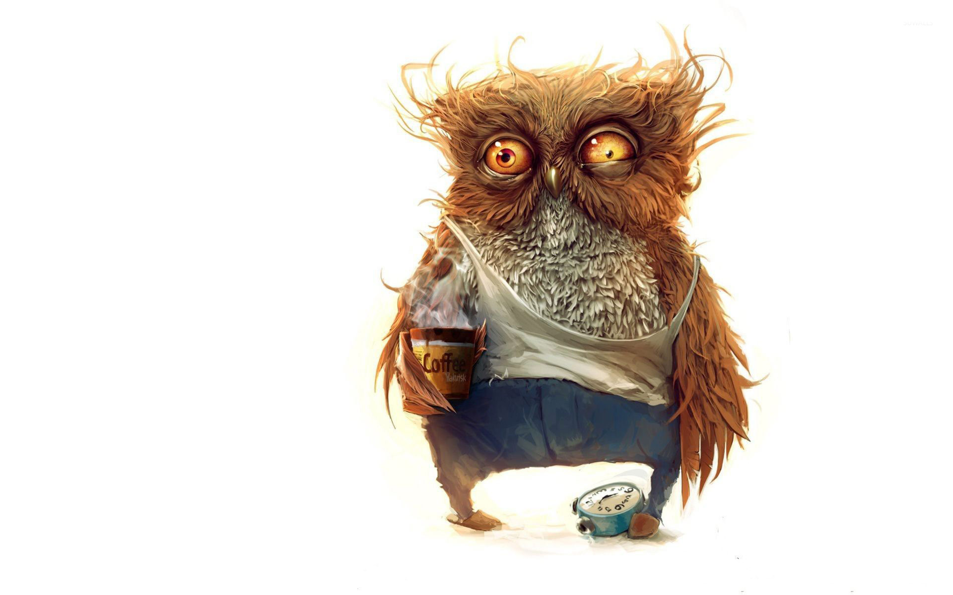 Owl Before Morning Coffee Wallpaper