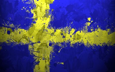 Paint drops on the flag of Sweden wallpaper