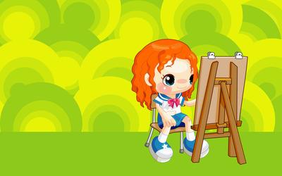 Painting schoolgirl wallpaper