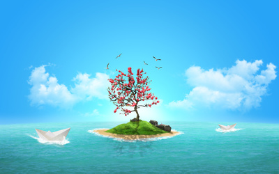 Paper boats by the small island wallpaper