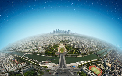 Paris from space wallpaper