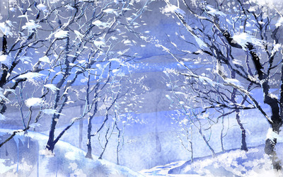 Path through the frozen trees wallpaper