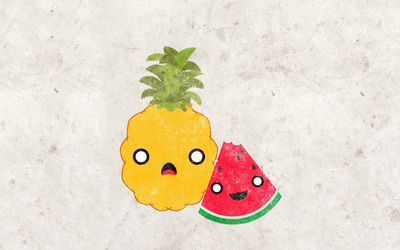 Pineapple and watermelon wallpaper