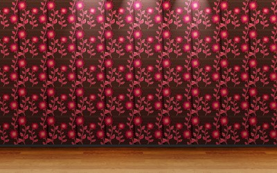Pink floral wall pattern wallpaper