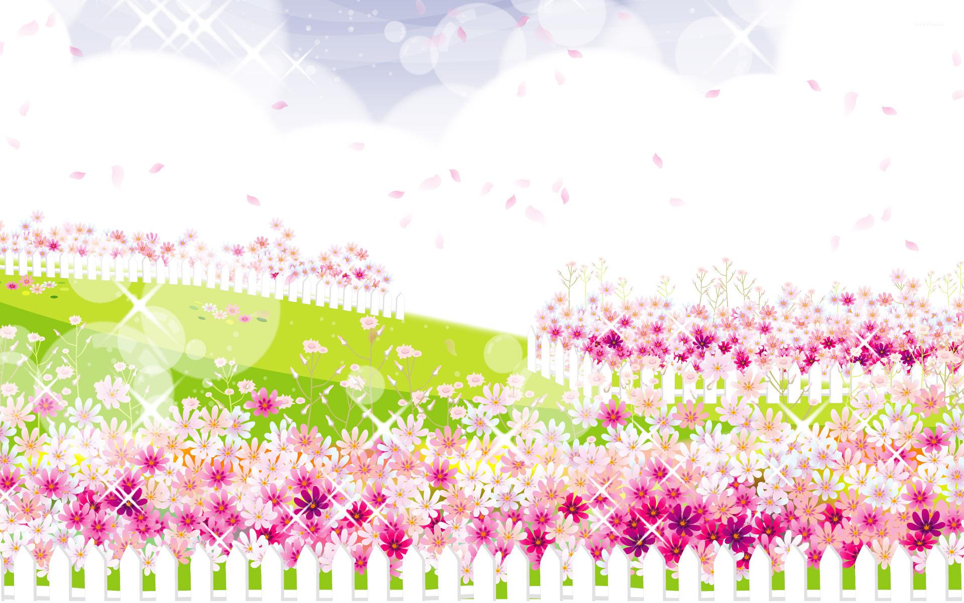 Flower garden cartoon - Pink Flower Garden Wallpaper