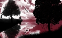 Pink sky reflected in the lake wallpaper 1920x1200 jpg