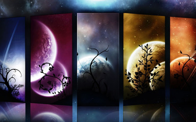 Planets and moon slides wallpaper