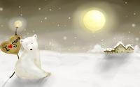 Polar bear leaning on a I love snow sign wallpaper 1920x1200 jpg