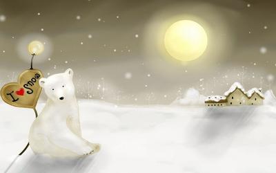 Polar bear leaning on a I love snow sign wallpaper