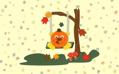 Pumpkin on a swing wallpaper