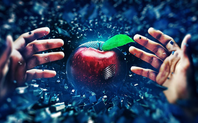 Reaching for the apple wallpaper