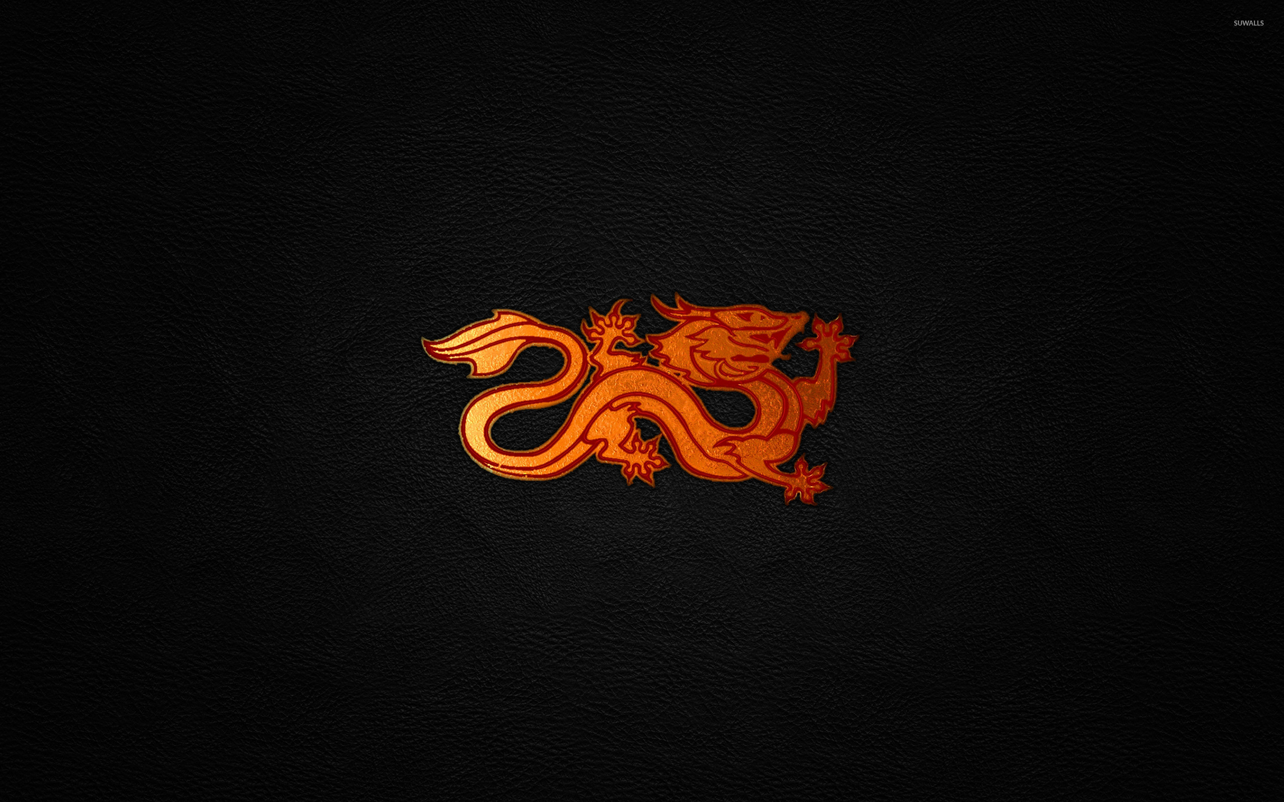 Red Dragon On Leather Wallpaper
